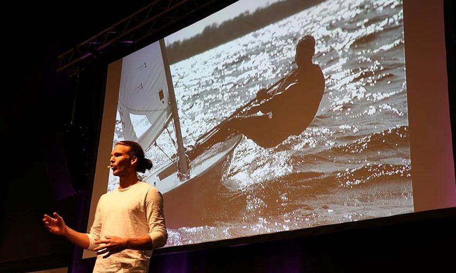 Emil Erichsen, tidligere Laser-sejler, er en eftertragtet foredragsholder. Her på Boat Show i marts. Foto: Troels Lykke