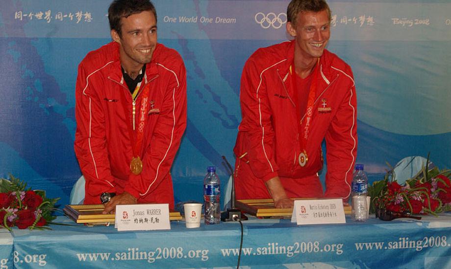 Jonas Warrer og Martin Kirketerp vandt for deres dramatiske OL-guld i 49er i 2008. Foto: Troels Lykke