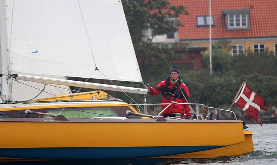 Bananen blev en af de sidste både i mål til årets Silverrudder. Ole Ingemann fra Svendborg fortæller om sejladsen og konceptet på klubkonferencen. Foto: Katrine Bertelsen