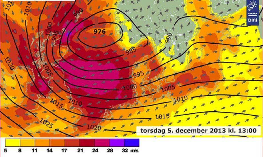 Det bliver næppe sidste gang, vi får en storm som Bodil. Foto: dmi.dk
