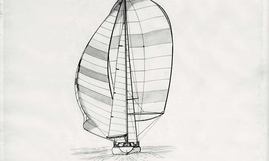En af Jan Kjærulff's originale tegninger af 1/2 tonneren. Tegning: Jan Kjærulff