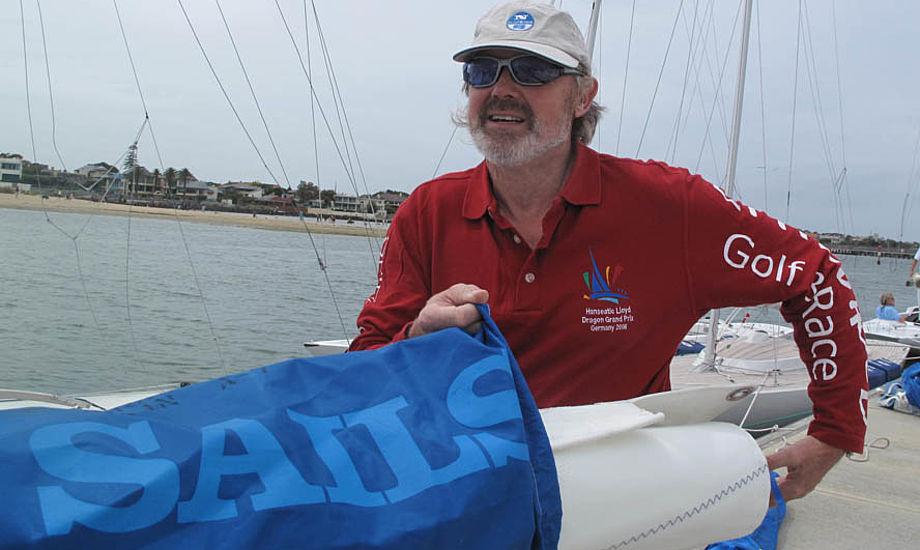 Frank Berg i Melbourne, hvor han sejler i sin glasfiber-Drage. Foto: Troels Lykke