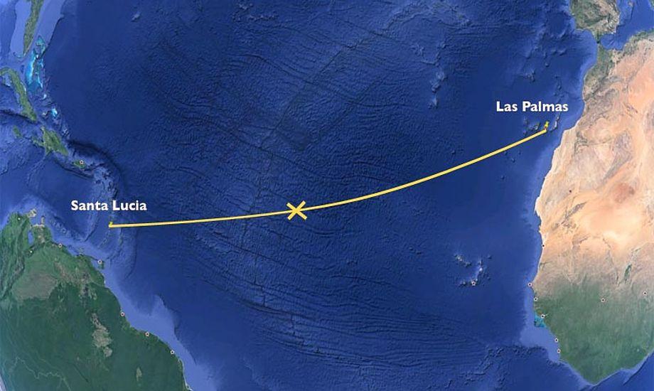 """""""Marie Sofie"""" er nået over halvvejen. Der er nu 1275 sømil til St. Lucia."""