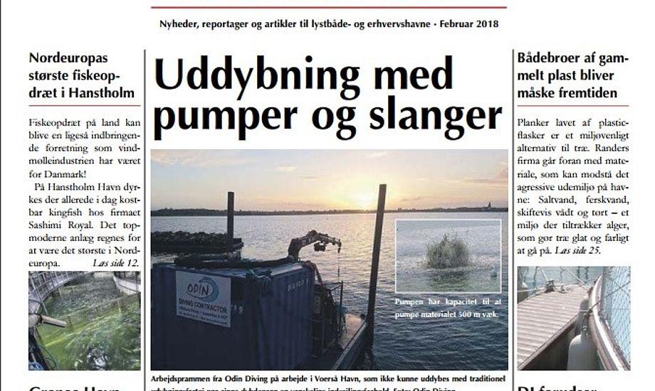Forsiden af MarinaNews som blandt andet skriver om en nyskabende og skånsom teknik som flytter havneslam i lange slanger.