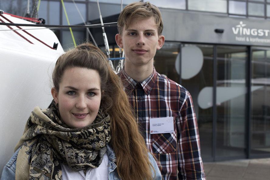 Frida Hangel fra Frederikssund og Christian Okkels fra Kolding Sejlklub er blandt de aktive unge. Foto: Flemming Ø. Pedersen