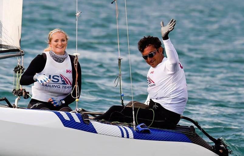 USA's Nacra 17 hold, Helena Scutt og Bora Gulari. Foto: Martina Orsini