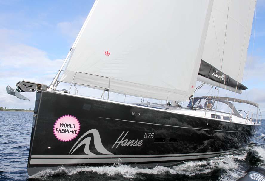 Her ses den nye Hanse 575 til 4,2 mio. kroner sejlklar. Sejlene er Elvstrøms Sails model Fast Cruising Laminat. Foto: Troels Lykke