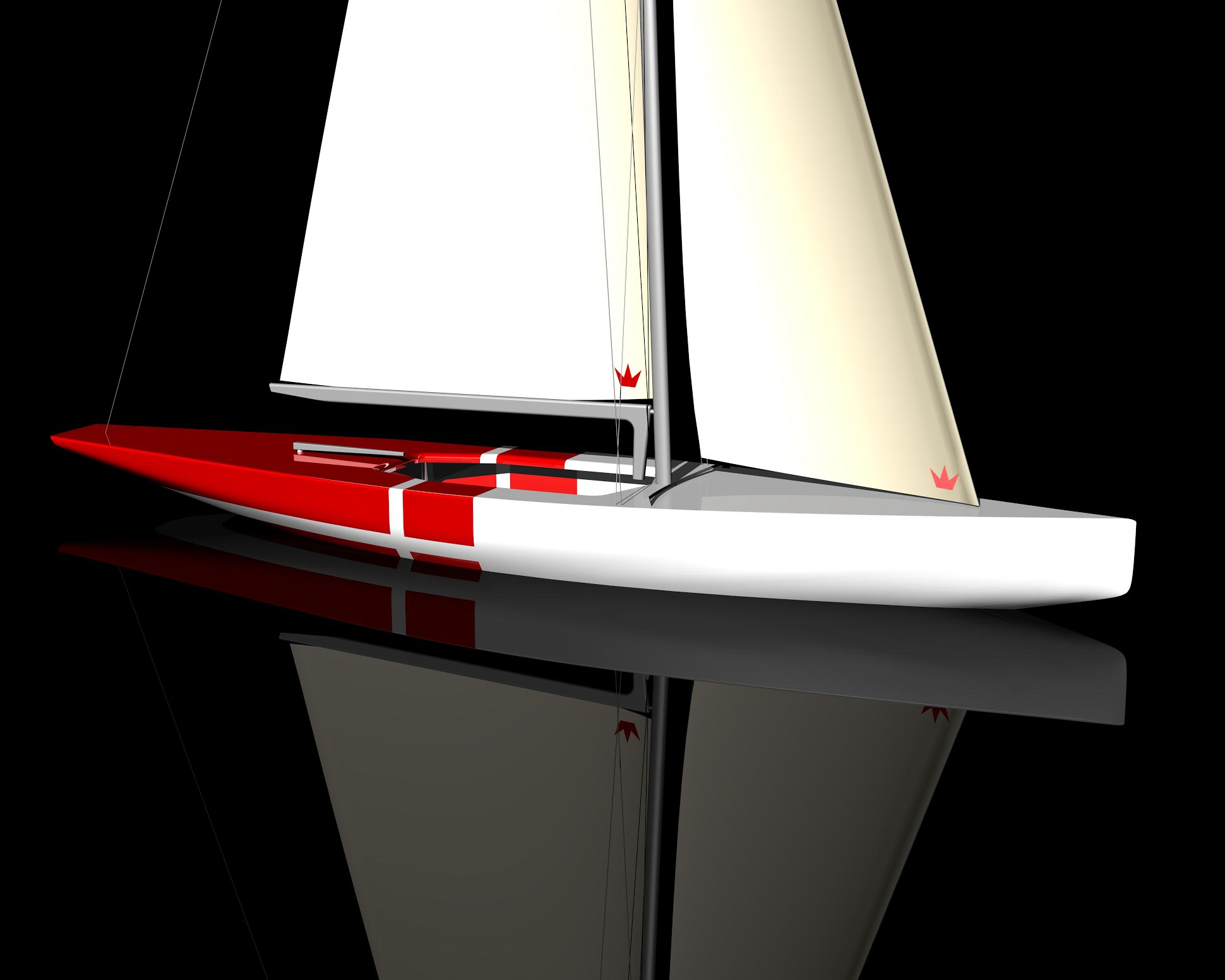 - Vi mener at have fundet den formel der er perfekt til farvandet ud for Tuborg Havn, hvor der sejles VM i august 2016, siger designer Johan Johnsen om båden, der ses her.