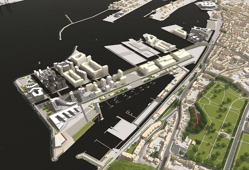 Aarhus Internationale Sejlsportscenter vil blive opført på Aarhus Ø på det nordvestlige hjørne over for Træskibshavnen.