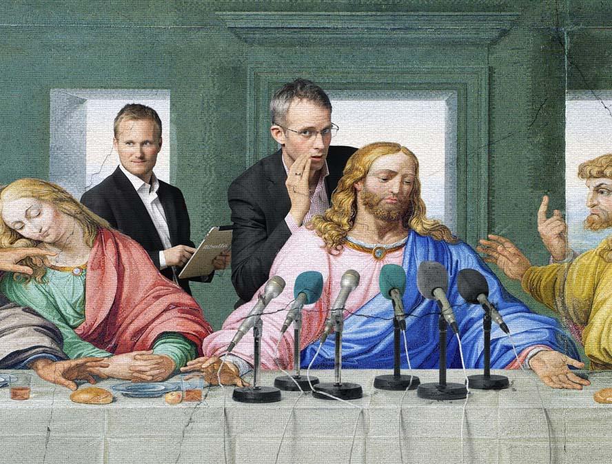 """Jesus sidste """"pressekonfenference"""" er lavet af photoshop-eksperterne i Billy Bonkers og er inspirert av Leonardo da Vincis """"The last supper"""" (1495-98). Originalen er et vægmaleri i Santa Maria delle Grazie klosteret i Milano."""
