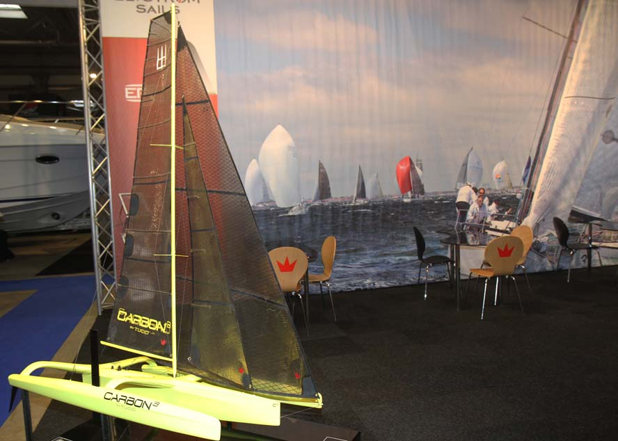 Carbon 3 udstilles i miniformat på Elvstrøm Sails stand i Fredericia. Foto: Troels Lykke
