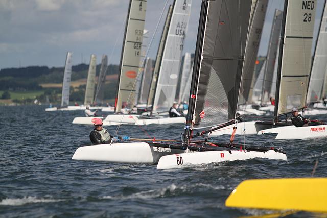 Start ved A-Cat VM 2011. Foto: Sailing Aarhus