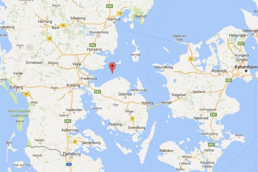 Den 72-årige blev fundet her ved Æbelø. Foto: Google Maps