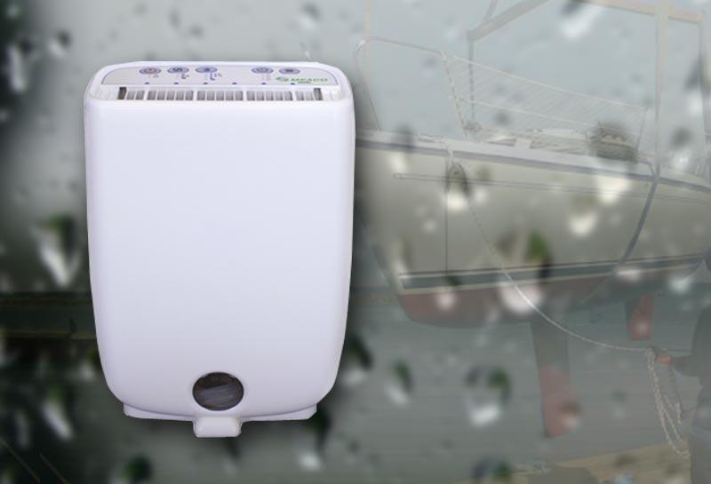 Meaco affugter kan rumme to liter vand, og stopper automatisk når tanken er fuld.