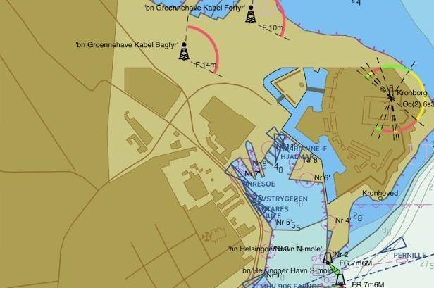 Helsingør Lystbådehavn og Inderhavn set på Seapilot-kort. Foto: Bøje Larsen