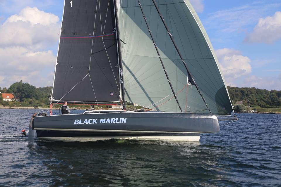 Trimaranen Black Marlin er en 31 fods one off-konstruktion - der får indbygget solceller i ruftaget, der leverer energi til elmotor.