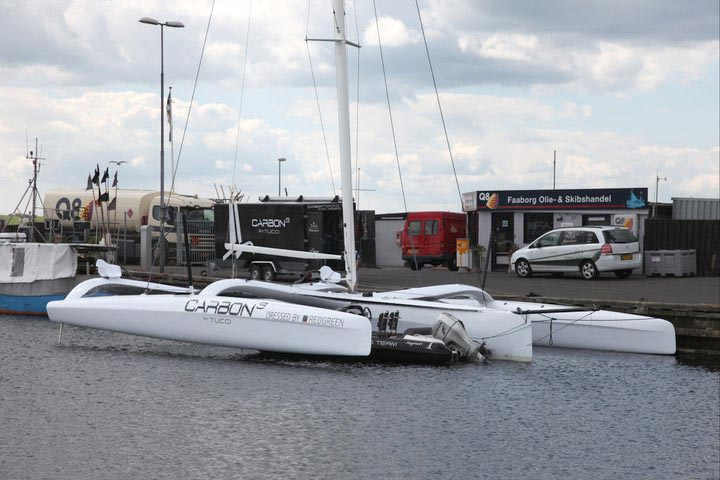 Carbon3 kom i vandet i Fåborg i fredags. Foto: Carbon3