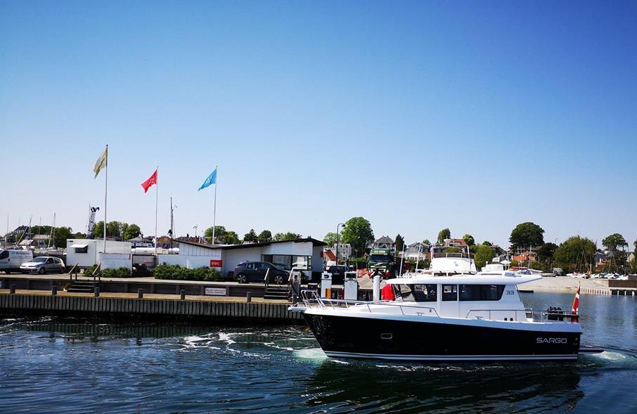 Sådan ser den nye Sargo 33 ud foran DBC Marine i Skovshoved. Foto: Troels Lykke