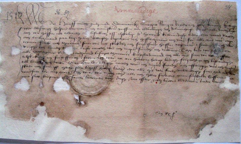 """""""Fødselsattesten"""" fra 1510 viser, at Danmark fulgte med udviklingen i andre europæiske lande. Foto: Statens arkiver"""