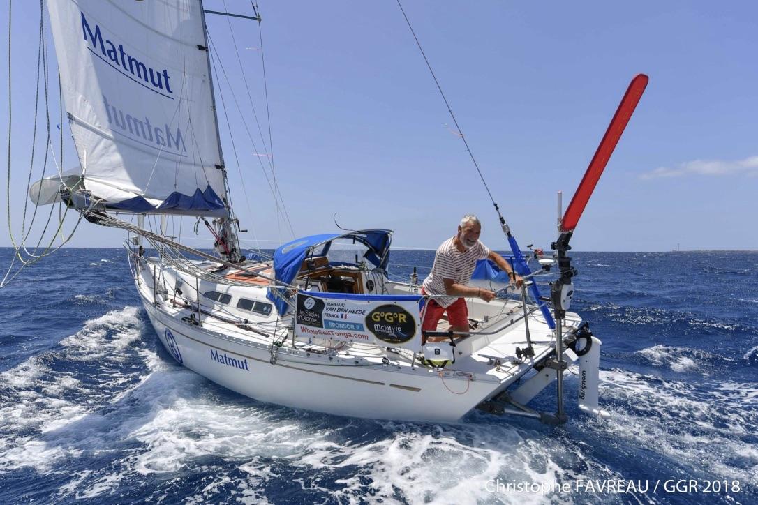 Franske Jean-Luc Van Den Heede har sejlet store dele af sejladsen med en gennemsnitsfart på syv knob. Foto: Christophe Favreau / GGR 2018