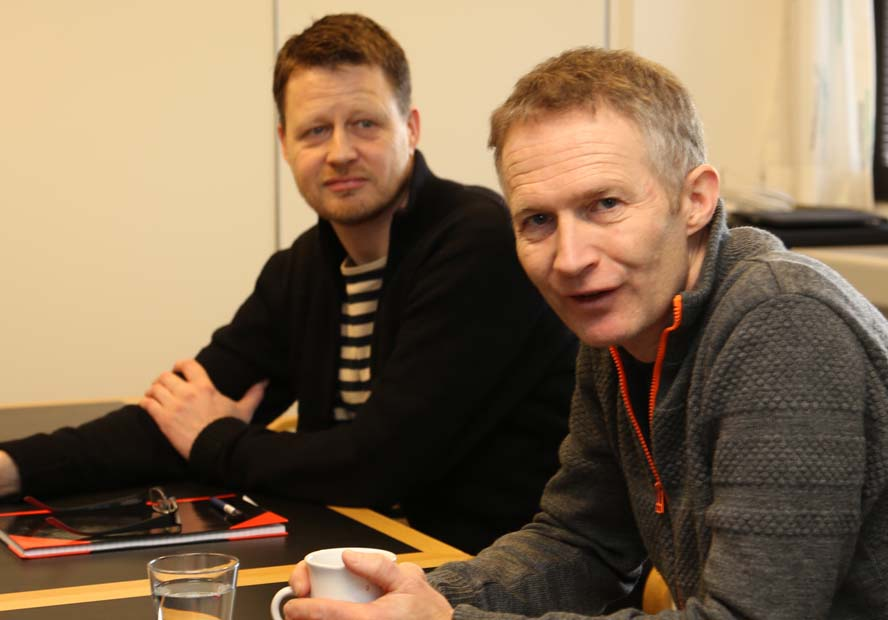 Mads Kolte-Olsen, tv., og Hans Natorp i Brøndby i Dansk Sejlunion. Foto: Troels Lykke