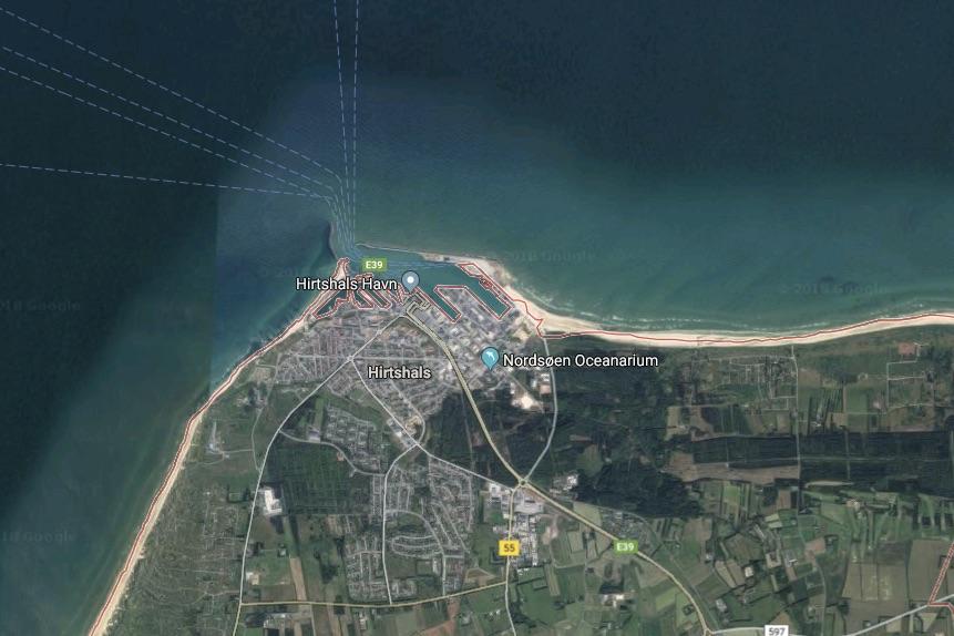 Ulykken indtraf ved den østlige mole. Foto: Google Maps