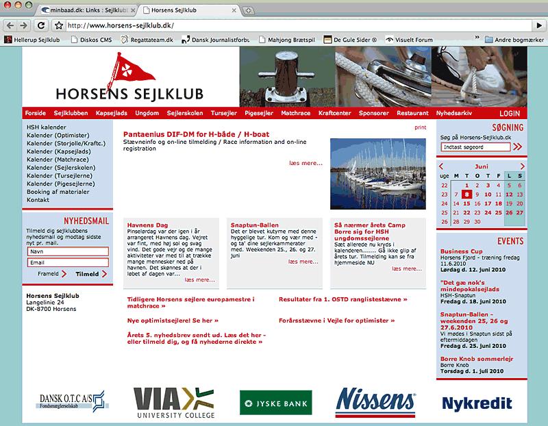 Horsens Sejklub hjemmeside