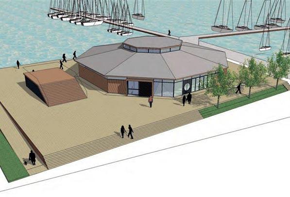 Det gamle klubhus led jævnligt af oversvømmelser, det tager det nye projekt højde for. Illustationer: GINNERUPARKITEKTER