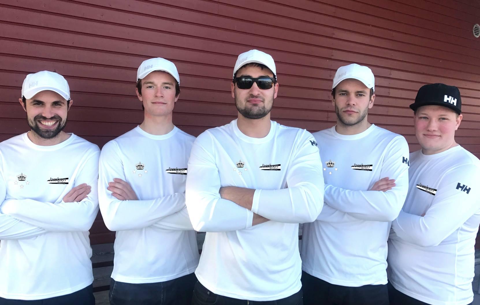 Jacobsen Racing team Fra højre Står Vikter Kenting, August La Cour, Felix Jacobsen, Sebastian Pieters og Toby Austin-Fraser