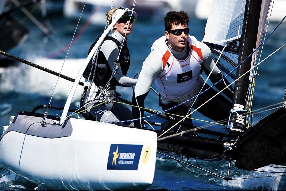 Lin Cenholt og Christian Peter Lübeck kan rejse til Danmark med en bronzemedalje om halsen. Foto: Pedro Martinez / Sailing Energy