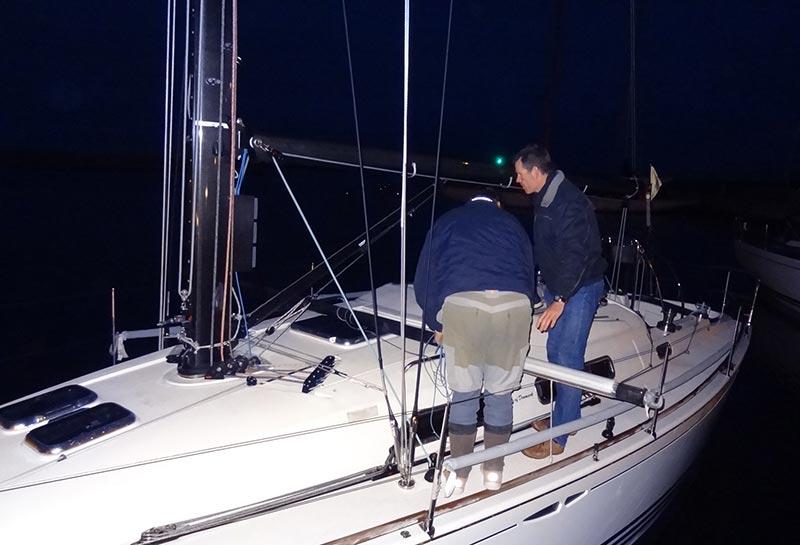 En del både blev målt ind til ORCi i 2013. Her arbejdes der sent i Tuborg havn. Foto: Foto Jette Dalegaard/Dansk Sejlunion