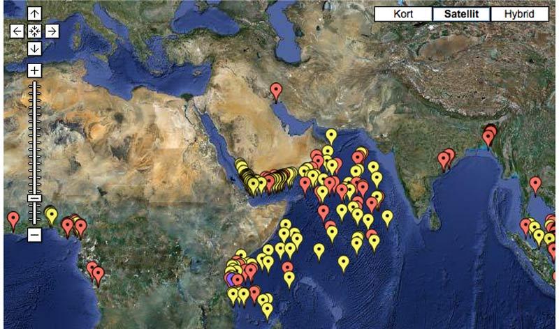 Kortet viser antallet af somaliske piraters angreb eller forsøg på samme ud for Afrikas østkyst. Billede. Google maps/icc-ccs.org