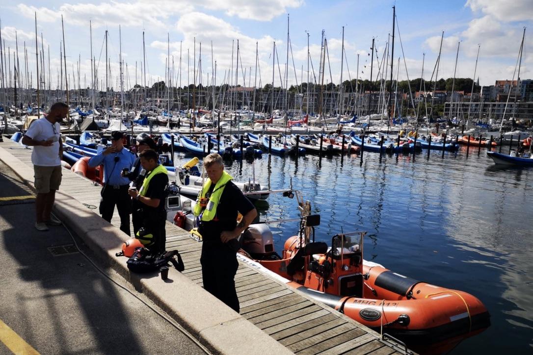 Politiet er massivt til stede på havnen i forbindelse med VM i sejlsport. Foto: Troels Lykke