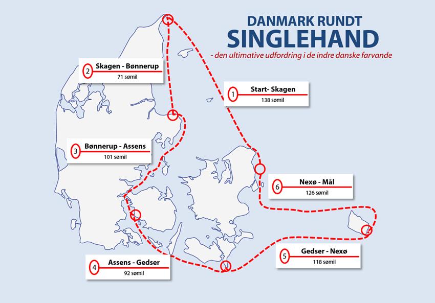 Distancen Danmark Rundt Singlehand er på 646 sømil.