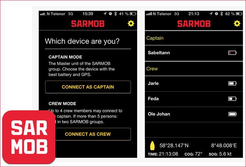 SARMOB danner netværk mellem mobiltelefonerne om bord, og aktiveres når kæden brydes.