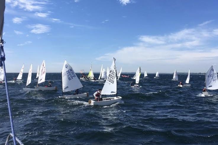 I de indledende sejladser blev der i Opti A, Opti B og Zoom 8 kæmpet om en plads i medalrace. Foto: Snekkersten Skotterup Sejlklub