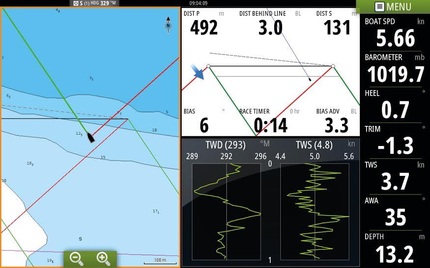 Med den nye software bliver det nemmere at placere båden godt i starterne. Foto: B&G