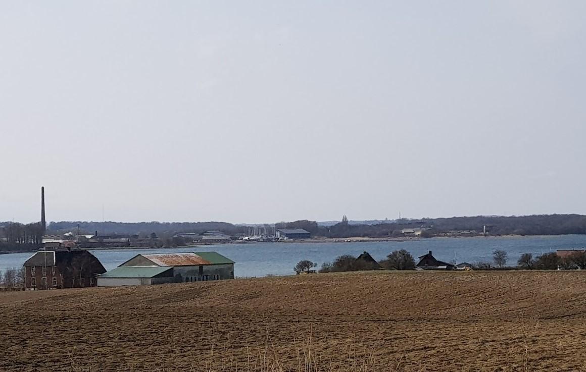 Her ses  Broager, tæt på Sønderborg, hvor der forventes forhøjet vandstand på op til 140 centimter. Foto: Troels Lykke