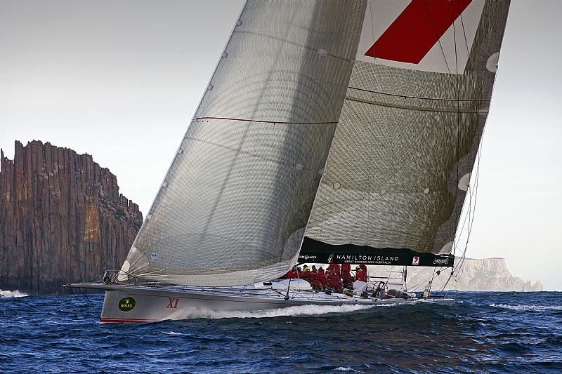 Her ses et billede af Wild Oats fra Sydney Hobart sejladsen, der kører lige nu. Foto: Rolex