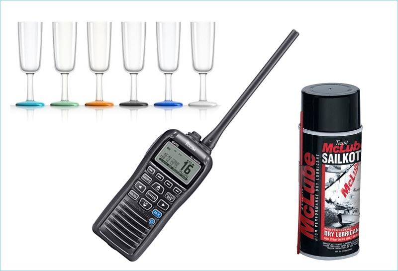 Mclube Sailkote smøremiddel, champagneglas i kække farver og en bærbar VHF gør sejladsen sjovere.
