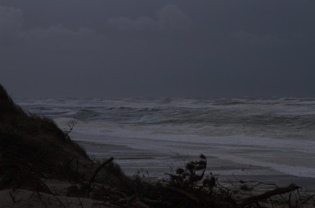 Sådan så det ud på Vestkysten ved Nymindegab ved 15-tiden. Foto: Sara Sulkjær