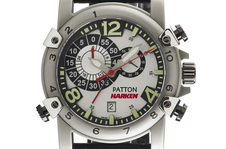 PATTON-HARKEN Regatta watch fås med både sort og hvid baggrund