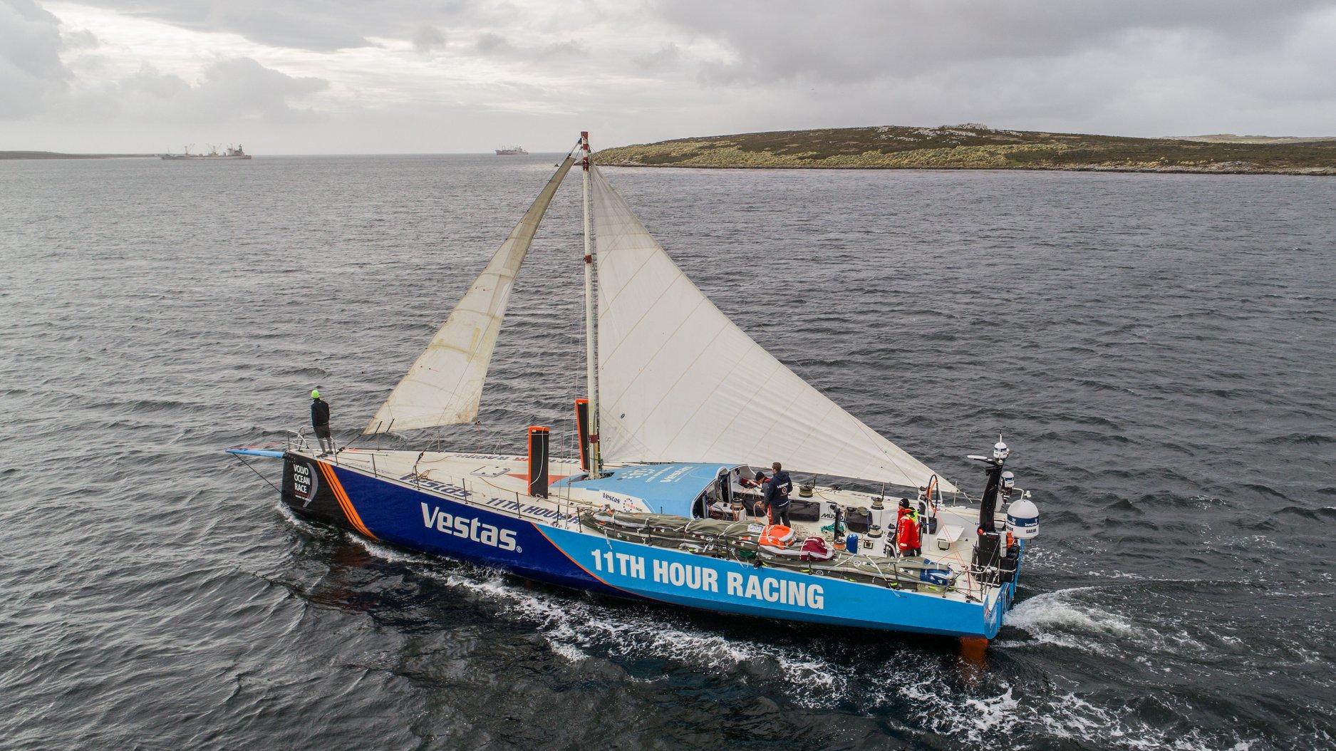 Så lav er masten på Vestas 11th Hour Racing nu her ved Falklandsøerne. Foto: Jeremie Lecaudey / Volvo Ocean Race