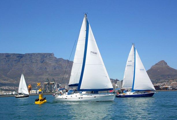 5. januar startede feltet i let vind fra Cape Town i Syd-Afrika med kurs mod St. Helena og Brasilien. Foto: worldcruising.com