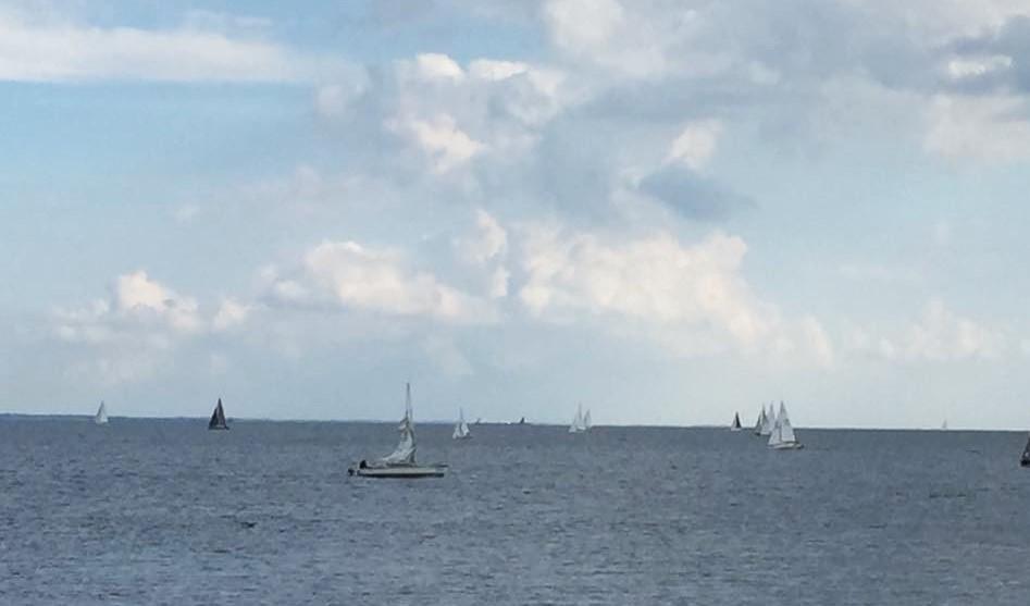 Flere sejlere havde svært ved at komme ind over linjen, da der var modstrøm og ingen vind, men så kom vinden og måldommerne kom på overarbejde. Foto: Ole Ingemann
